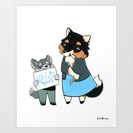 Sheltie Art Teacher (Dogs with Jobs series) Art Print