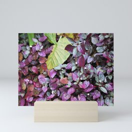 Purple and Green Leaves Mini Art Print