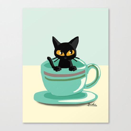 Cat in the cup Canvas Print