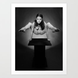 7717-MAK Flexible Nude Woman Above Pedestal Sexy Erotic Black & White Naked Art Art Print