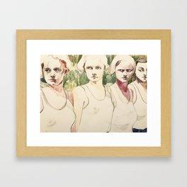 Girls Waiting in Line Framed Art Print