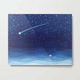 Falling star, shooting star, sailboat ocean waves blue sea Metal Print