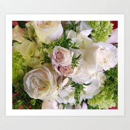 Softly Speaking Delicate Pink Roses Green Hydrangea Bouquet cdeeryart getdeery Art Print