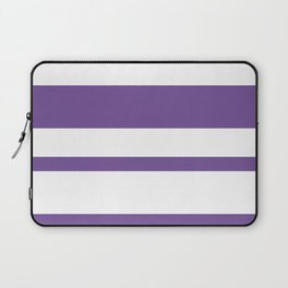 Mixed Horizontal Stripes - White and Dark Lavender Violet Laptop Sleeve