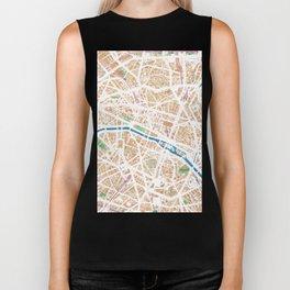 Watercolor map of Paris Biker Tank