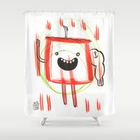 monster Shower Curtains featuring Monster by Wouter Goudswaard
