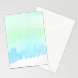 Hand painted turquoise teal blue watercolor ombre brushstrokes Stationery Cards