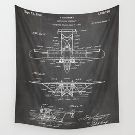 Seaplane Patent - Biwing Seaplane Art - Black Chalkboard Wall Tapestry