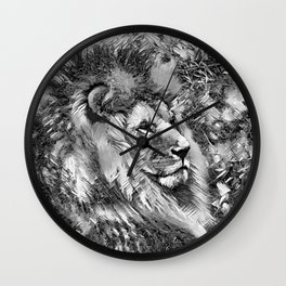 AnimalArtBW_Lion_20171001_by_JAMColorsSpecial Wall Clock