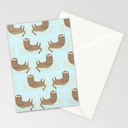 Otter Blue Pattern Stationery Cards