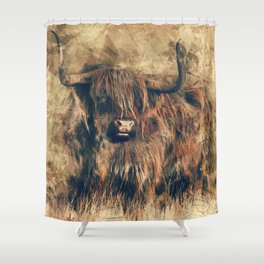 Highland Bull Art Shower Curtain