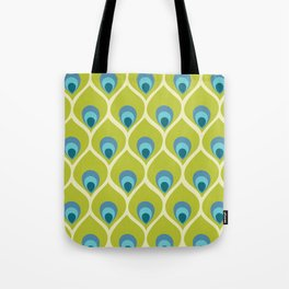 Modern Peacock Feather Blue Green Abstract Pattern Tote Bag