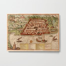 Map Of Algiers 1541 Metal Print