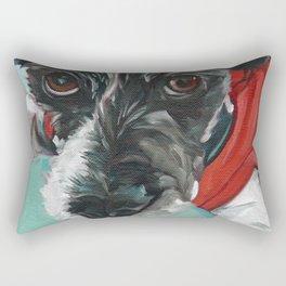 Black and White Dog Portrait Rectangular Pillow