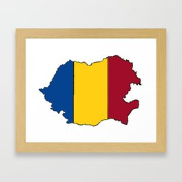 Romania Map with Romanian Flag Framed Art Print