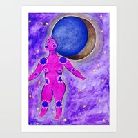 Afro Moon Art Print