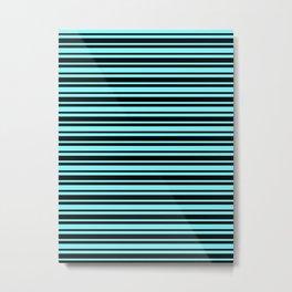 Electric Blue and Black Horizontal Var Size Stripes Metal Print