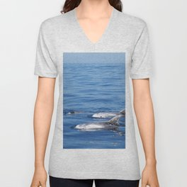 Beautiful risso´s dolphins in Tenerife Unisex V-Neck