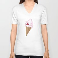 icecream V-neck T-shirts featuring Icecream by Anca Avram