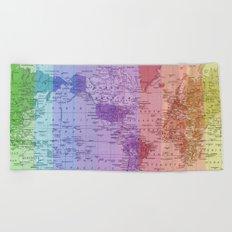 Rainbow World Map II Beach Towel