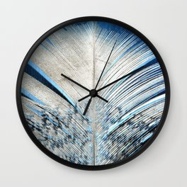 Feather | Feathers | Spiritual | White and Blue Feather | Nature Wall Clock
