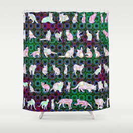 """""""Fifty Felines"""" by surrealpete Shower Curtain"""