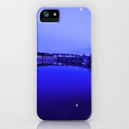 France landscape, Amboise, Loire valley, dusk, reflection, river, blue iPhone Case