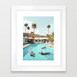 Pig Poolside Party Framed Art Print