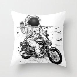 Moon Biker Throw Pillow