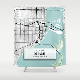 Miami Florida City Map with GPS Coordinates Shower Curtain