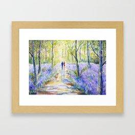 Watercolor bluebell wood walking Framed Art Print