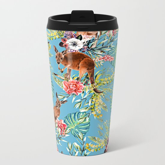 Kangaroos Pattern Metal Travel Mug