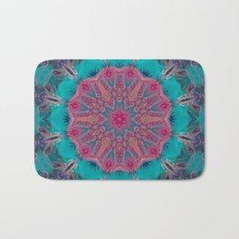 Pink Turquoise Kaleidoscope Mandala - Abstract Art by Fluid Nature Bath Mat