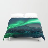 northern lights Duvet Covers featuring Aurora Borealis (Northern Lights) by StayWild