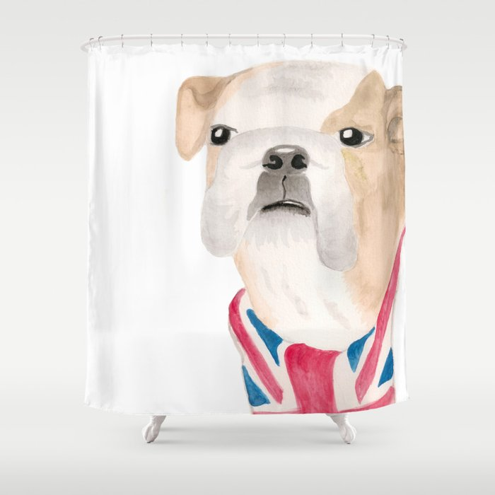 British Bulldog Union Jack Painting Shower Curtain by samanthaclaire