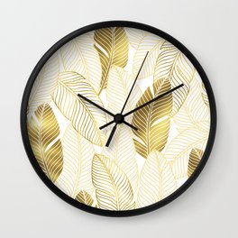 Gold tropical leaves pattern Wall Clock