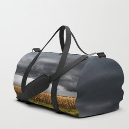 Corn Field - Storm Over Withered Crop in Southern Kansas Duffle Bag