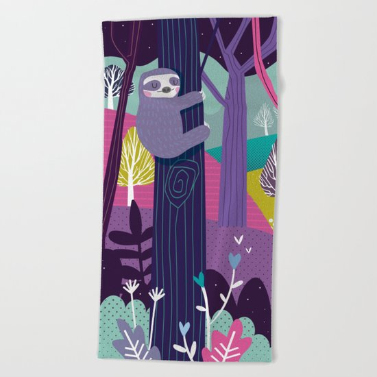 Sloth in the woods Beach Towel