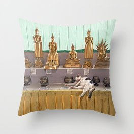 Big Buddha Cat - Thailand Throw Pillow