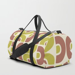 Groovy Mid Century Modern Pattern Brown Chartreuse Duffle Bag