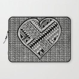 Modern, black and white, geometric shaped heart Laptop Sleeve