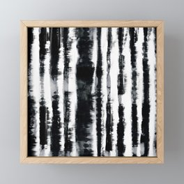Tie-Dye Shibori Stripe BW Framed Mini Art Print