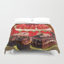 CAKE & STRAWBERRIES PINK FROSTED DONUTS BIRTHDAY Duvet Cover