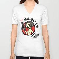 leia V-neck T-shirts featuring Kawaii Leia by Bamboota