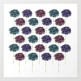 Colorful Carnation Flower Pattern Art Print