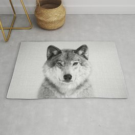 Wolf 2 - Black & White Rug