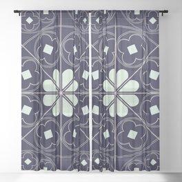 Tudor Rose in Blue Sheer Curtain
