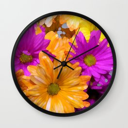 Bright Summer Daisies Wall Clock