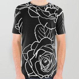 Feminine and Romantic Rose Pattern Line Work Illustration on Black All Over Graphic Tee