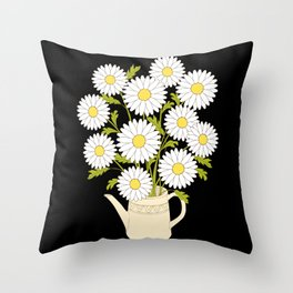 bouquet of camomiles in the vase on the black Throw Pillow